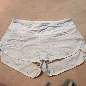 Size 6 white lululemon speed shorts